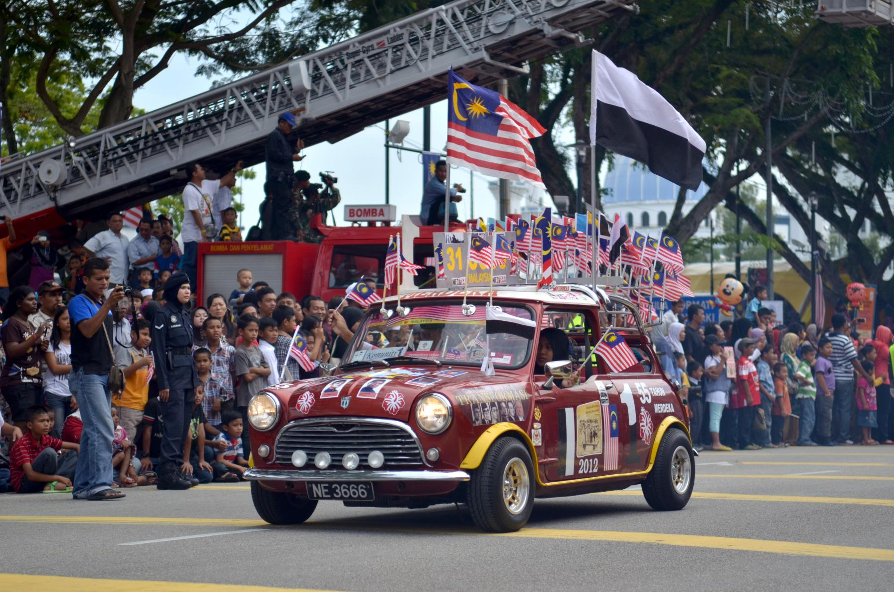 car with flags